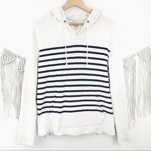 J. Crew Nautical Striped Pocket Hoodie Sweater S